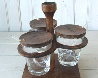 Mid Century Modern Condiment Serving Set Wood and Glass Japan