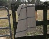 Grain Sack Throw Custom Sizes & Fabrics Handmade Grain Sack Bedding Farmhouse Throw Blue Stripe Grain Sack Coverlet Picnic Blanket Bedspread