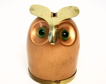 Coppercraft Guild Owl Bank with Green Eyes