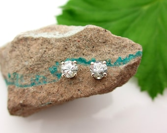 Achroite White Tourmaline Earrings in 14k White Gold, 4mm