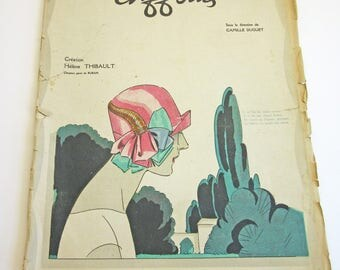 RARE Vintage French Magazine Chiffons August 1925 1920's Fashion & Couture Premet, Molyneux Illustrations