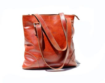 Vintage Cognac Brown Italian Leather Tote Bag