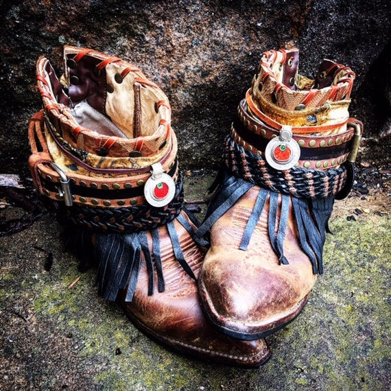 Luxury BOHEMIA Festival Boots ~ Custom Reworked Bohemian Gypsy Indie Boots, size 8 US ~ Ready to Ship