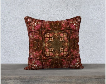 Tibetan Style Cross Throw Pillow Cover, Intricate Stained Glass Tile Pattern Cranberry Red and Moss Green Throw Cushion Case