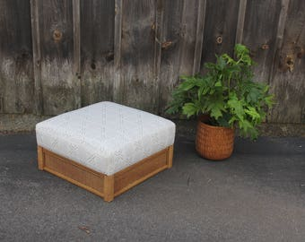 Large Upholstered Mudcloth Pattern Wicker Ottoman