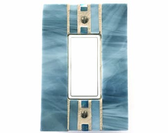 Blue Switch Plate, Glass Light Switch Cover, Decorative Switch Plate Covers, Outlet Cover, Dimmer Switch Cover, Mosaic Switch Plate, 8650