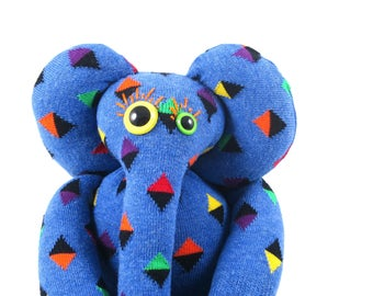 Sock Elephant ABERCROMBIE, blue, mini diamond, colourful, rainbow, happy socks, handmade, rattle, soft toy plush.
