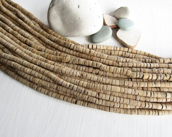 Beige Coconut beads, beige rondelle heishi discs , tan cream tone ,  exotic natural supplies  -  2 to 5 mm x 5mm( 1 strand 22 inches ) 6ph4