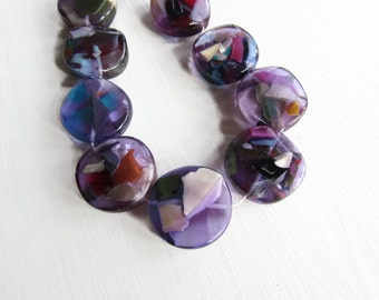 X large chunky coin Resin Beads,  purple Confetti Resin disc multicolored  speckled beads from indonesia  - 2 pcs  / 45  mm - 6CB1-1