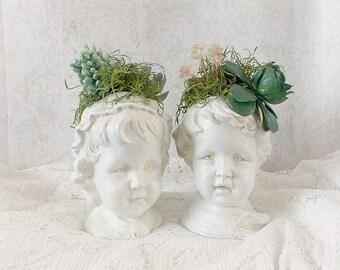 Shabby Rustic Chic Vintage Children Repurposed Faux Succulent Planter Vases