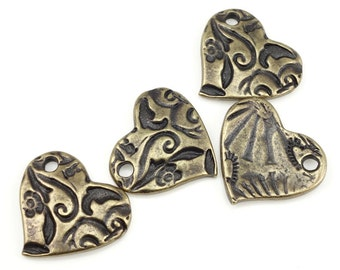 Bohemian Charms Antique Brass Charms TierraCast AMOR HEART Charms Bronze Charms for Jewelry Making Valentines Charms Natural Organic (P1376)