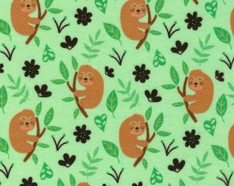 Cute Sloths Green Flannel Timeless Treasures fabric 1 yard