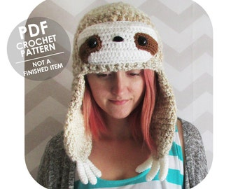 crochet pattern - sloth hat - winter beanie - winter hat with earflaps - funny animal hat - funny sloth - quirky hat