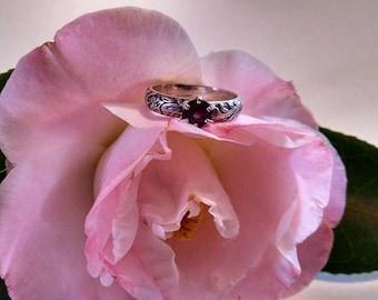 Dark Pink Purple Red  Real Genuine Round Gemstone Probably Rhodolite Garnet Sterling Silver Ring with Intricate Detail Work Size 6 1/2