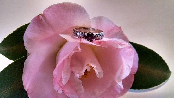 Dark Pink Purple Red  Real Genuine Round Gemstone Probably Rhodolite Garnet Sterling Silver Ring with Intricate Detail Work Size 6 1/2