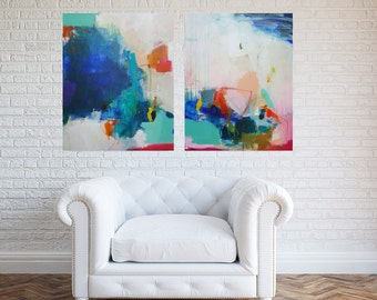 Abstract painting, abstract art, wall art, acrylic painting, home decor, wall decor, colorful painting, large wall art, dyptich painting