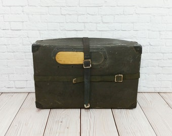 Vintage Black Military Shipping Case Fiberboard Strapped