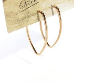 Vintage Minimal Leaf Shape Hoop Earrings