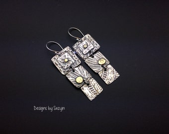 Long dangle silver and gold earrings, Attention Grabbers  Silver and 22K Gold Three Square LONG Earrings