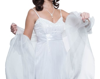 Bridal Evening  Silk Chiffon Stole/ Wrap/ Shawl with semi-sleeves (Natural, White, Cream Colors)