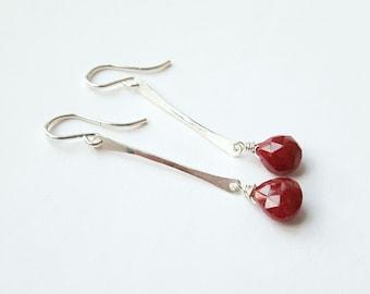 Ruby Drop Earring Sterling Silver Earrings Bar Earring Strip Earring Dangle Earring Simple Earring Color Pop Earring Red Earring