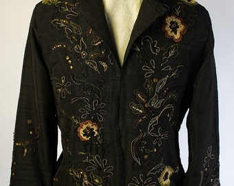 Embroidered Laura Ashley black jacket