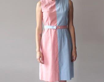 color block dress | red blue tan purple shift dress | mod dress | 1960s small