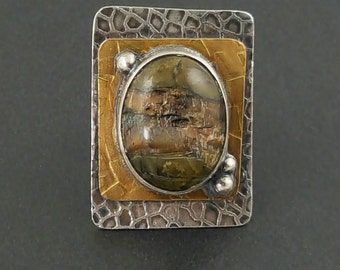ON SALE---Pietersite Mixed Metal Ring, square ring, silver and brass, silver gold green brown, size 7.5 ring, size 7 1/2 ring, boho,bohemian