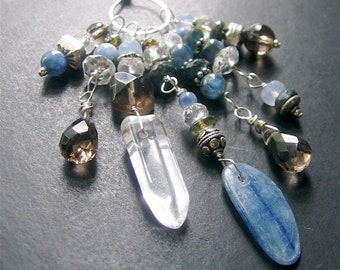Gemstone Charm Necklace, Long Multistone Necklace, Long Boho Necklace, Sterling Silver Gemstone Long Necklace