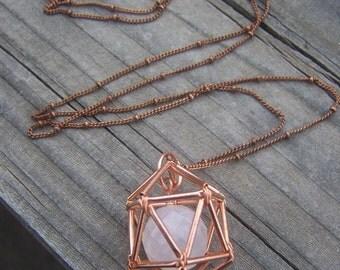 NEW! Geometric Necklace - Icosahedron - Rose Quartz- Copper - Long Chain