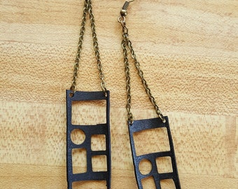 Recycled Bicycle Tire Tube Geometric Earrings