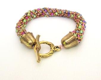 beaded wrap bracelet handmade bracelet multicolor seed bead bracelet gold bracelet boho bracelet festival bracelet beaded bracelet