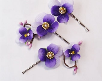 purple hair pins, pansy jewelry, flower hair pin, pansy hair accessories, purple hair accessories, wildflowers, flowers for hair, pansies