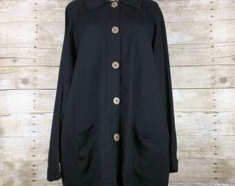 Vintage Black Linen Blend Oversize Fit Swing Jacket Misses L
