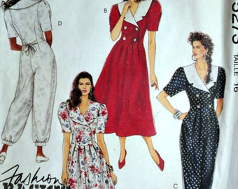 McCall's 5273 Sewing Pattern, Misses Dress And Jumpsuit, Size 16, 38 Bust, Uncut FF, Fashion Basics