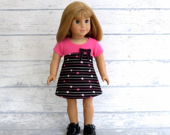 Tres Chic Valentine Doll Dress M2M Gymboree, fits 18 inch Dolls, Pink Black Dress with Bow