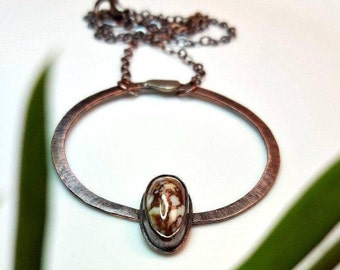 Wild Horse Magnesite Necklace, Rustic Copper, Natural Stone, Boho Style, Southwestern, Dark Patina, Hammered Circle, Wildhorse Jewelry