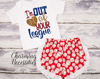 Baseball Sister Top and Ruffle Shorts Set, Fan, Baby Girl, Toddler Girl Clothes, Baby Girl Outfits, I'm Out of Your League Red