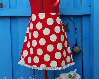 Red and White Polka Dot Corduroy A-Line Skirt with Lace