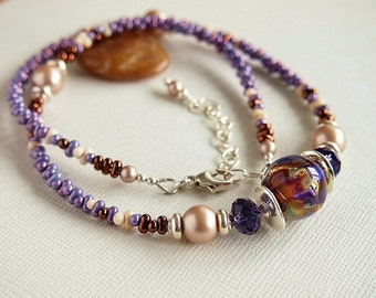 Purple Lampwork Necklace, Mauve, Amber, Russet,Almond, Pearl, Sterling Silver, Glass Bead Necklace - MYSTIQUE