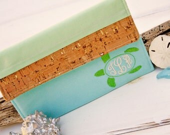 Monogrammed Personalized Kindle Paperwhite Cover,Kindle Oasis Case,Nook Glowlight Cover Beach Turtle Kindle Sleeve with Cork in Sanibel Sea