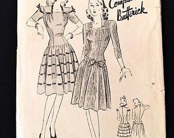 Unused Vintage 1940s Womens Dress Pattern Butterick 1747 Swing Era Rockabilly 40s Unprinted Sewing Pattern Bust 34 Waist 28