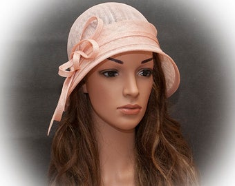 Blush pink elegant and simple straw cloche hat for women_Custom made according to your headsize