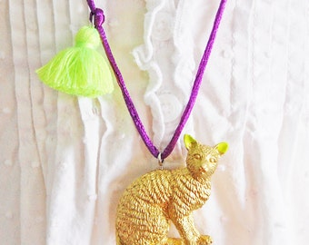 Cat Necklace. Kids Cat Necklace. Tassel Necklace. Gifts for Cat Lovers. Kitty Necklace. Cat Jewelry. Gifts for Kid. Cat Lady. Boho Kid