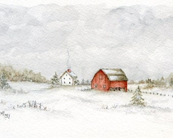 Snow Farm/Original Watercolor and Ink Painting