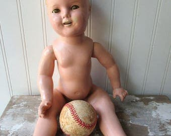 Vintage Ideal composition doll Shirley Temple doll jointed 18 inch jointed shabby bald  as is