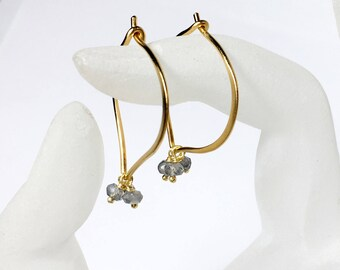 Labradorite Earrings, Gemstone Hoops, 24K Gold Vermeil Earrings, Medium or Large, Gifts for Her, Bridal, Hand forged, MiShelli