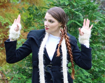Fuzzy White Scarf and Fingerless Glove Set Long Soft Accesory  Gift for   Girls or Women