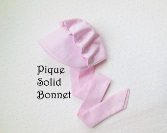 Baby Sun Bonnet Button Bonnet - Solid pique color choice cotton - candy pink - light pink - light blue - pale yellow - white