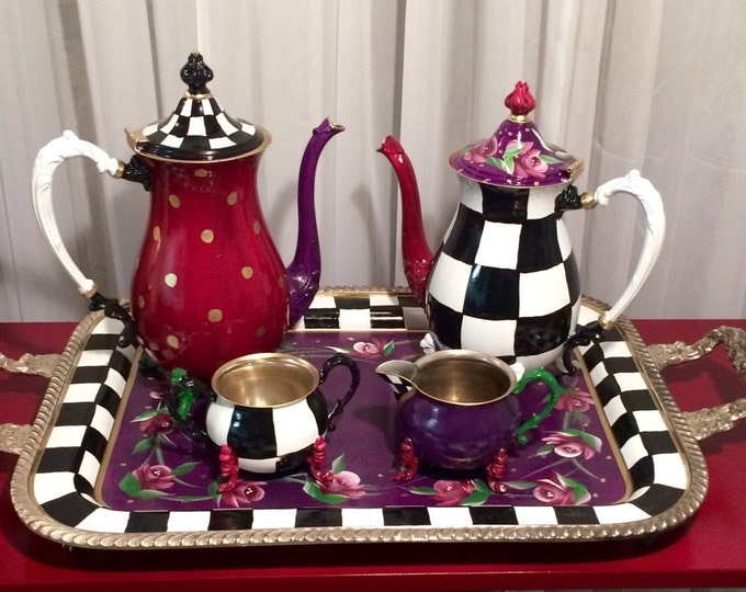 Painted Tea Set 3-piece // Whimsical Painted silver Tea Set // Silver Tea Set
